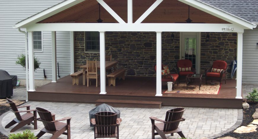 covered deck, azek deck, deck with roof, roof over deck